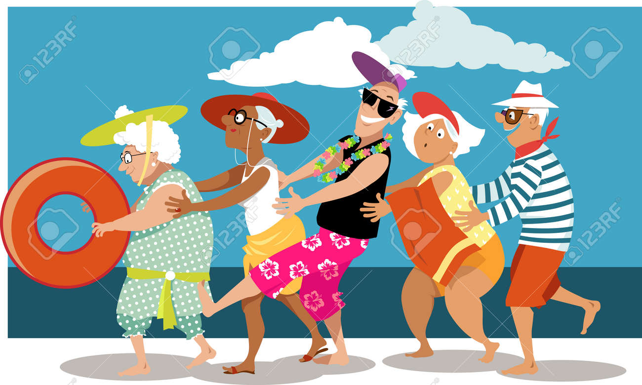 Group of active seniors dancing a conga line dance on the beach, EPS 8 vector illustration - 83361078