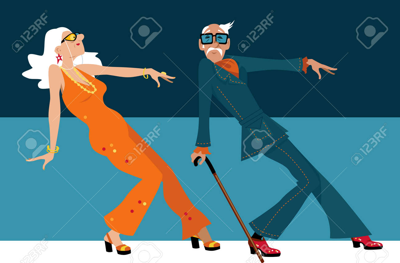 Mature couple dressed in 1970th fashion dancing a novelty dance. - 84131407
