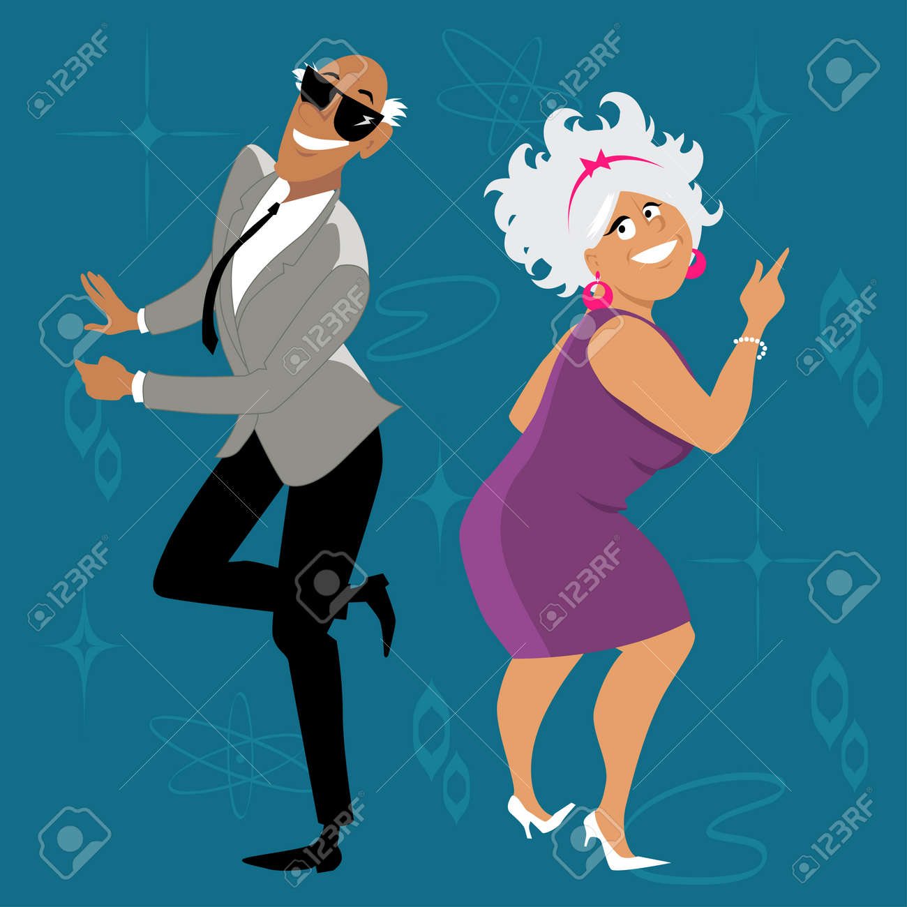 Mature couple dressed in 1960th fashion dancing the Twist, EPS 8 vector illustration - 84061983