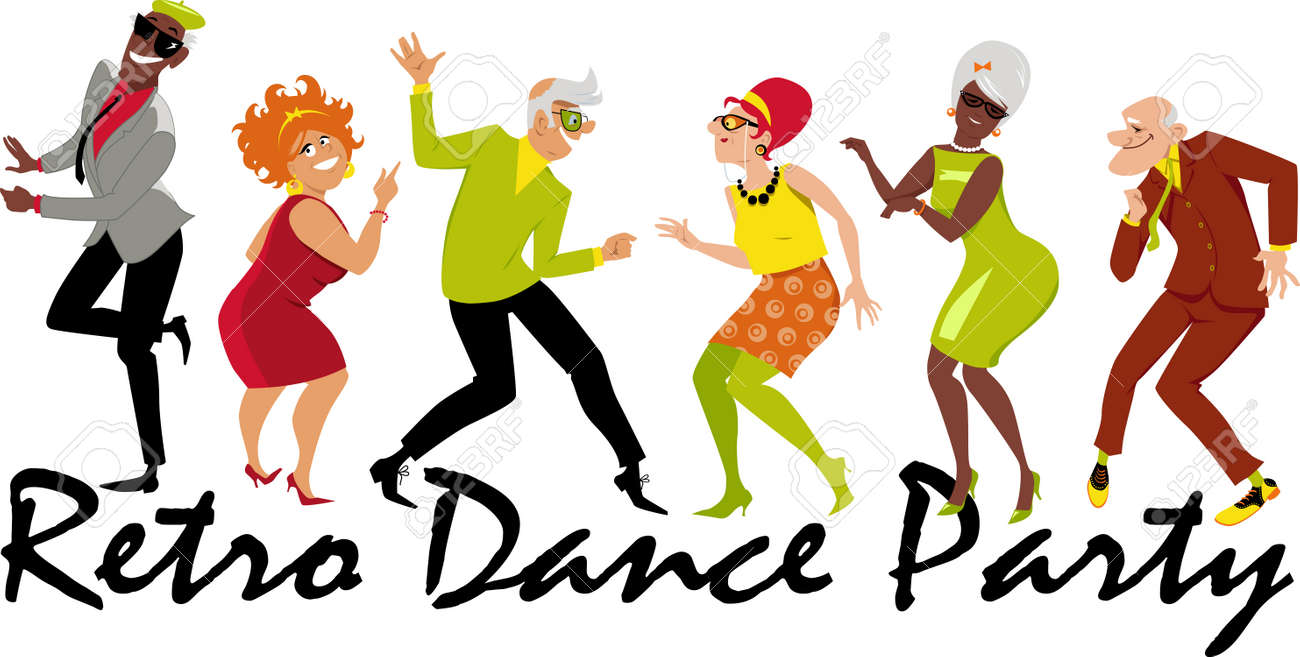 group of active seniors dressed in 1950th 1960th fashion dancing rh 123rf com Line Dancing Clip Art Black People Dancing Clip Art