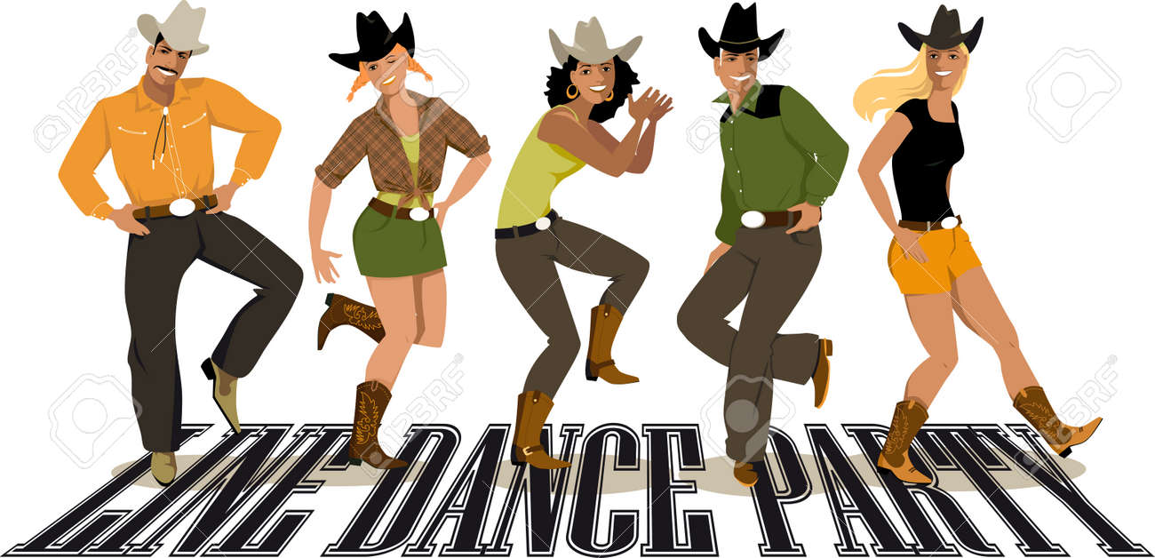 group of people in western country clothes dancing line dance rh 123rf com soul line dancing clipart line dancing clipart free