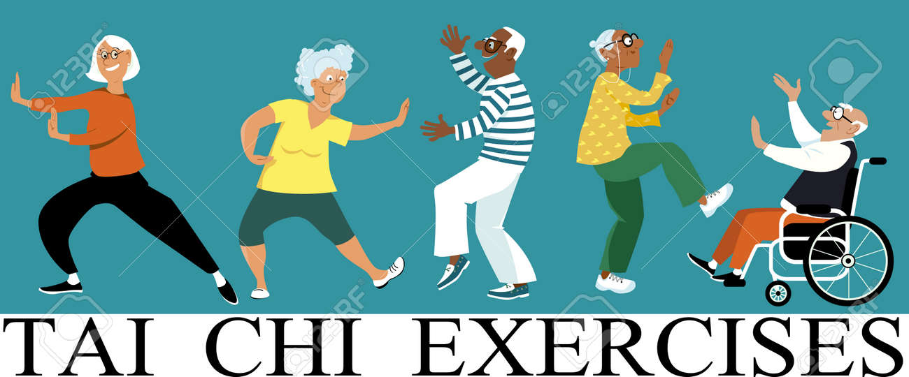 Diverse group of senior citizens doing tai chi exercise, EPS 8 vector illustration - 84660860