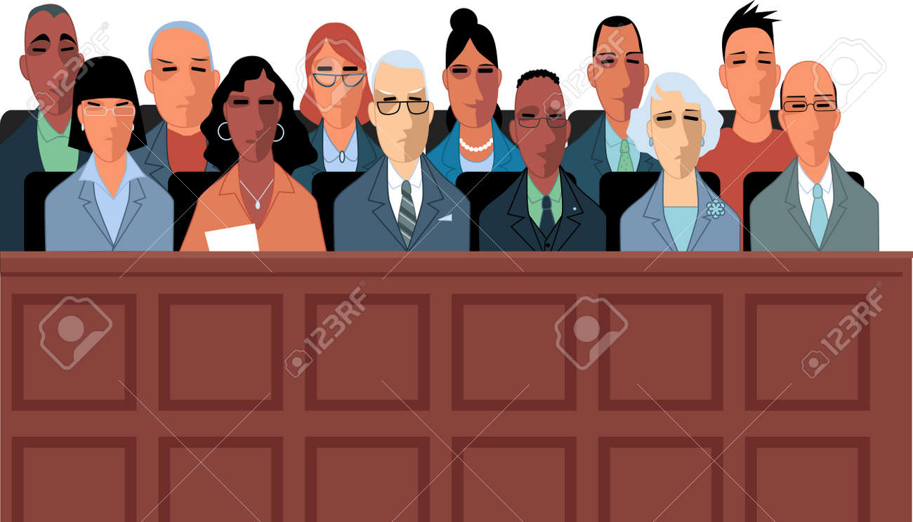 12 jurors sit in a jury box at a court trial illustration. - 87668032