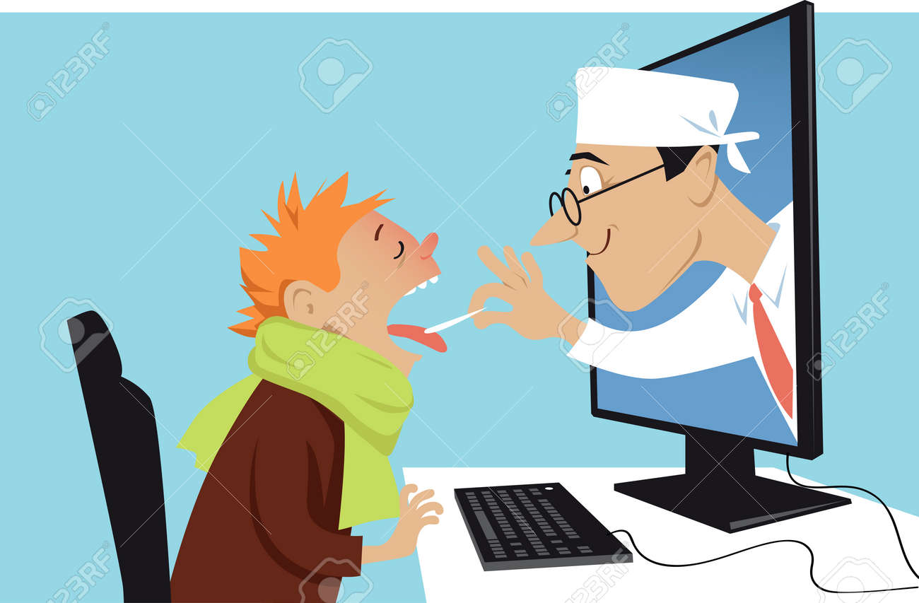A doctor coming out of a computer and examining a sick boy, EPS 8 vector illustration - 87667121