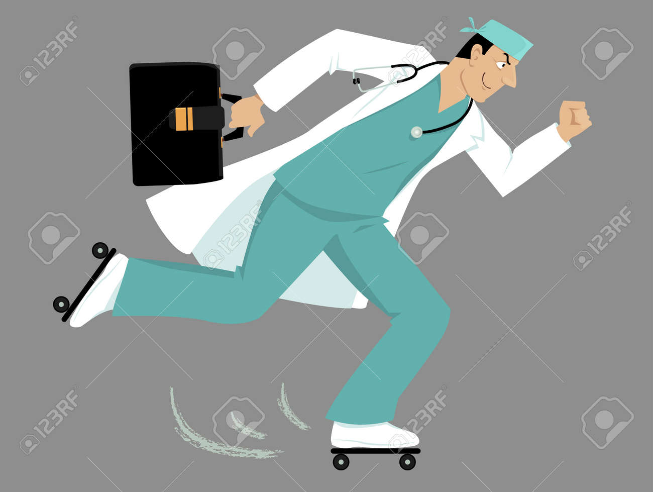 Doctor on roller skates rushing to a patient. - 87944533