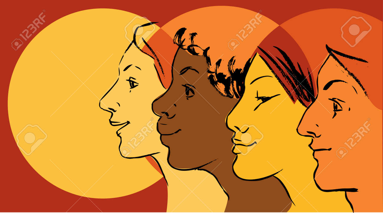 Female profiles of different ethnicity as a symbol for women female profiles of different ethnicity as a symbol for women empowerment movement stock vector biocorpaavc Gallery