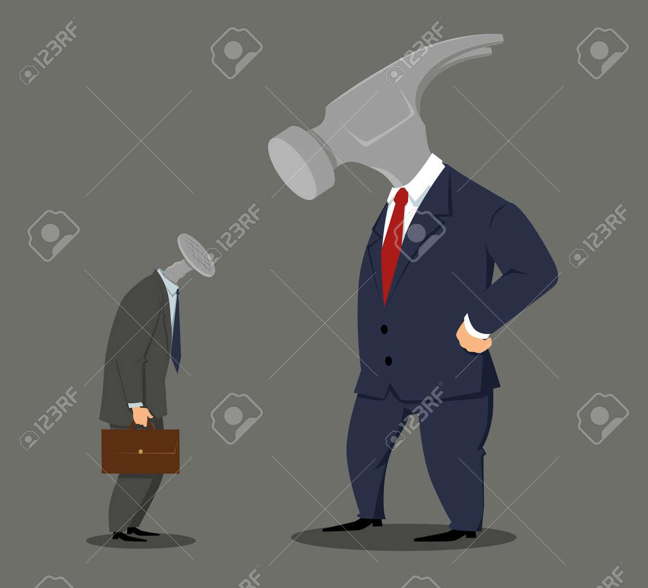 Boss hammer looking at a nail employee, EPS 8 vector illustration - 89536917