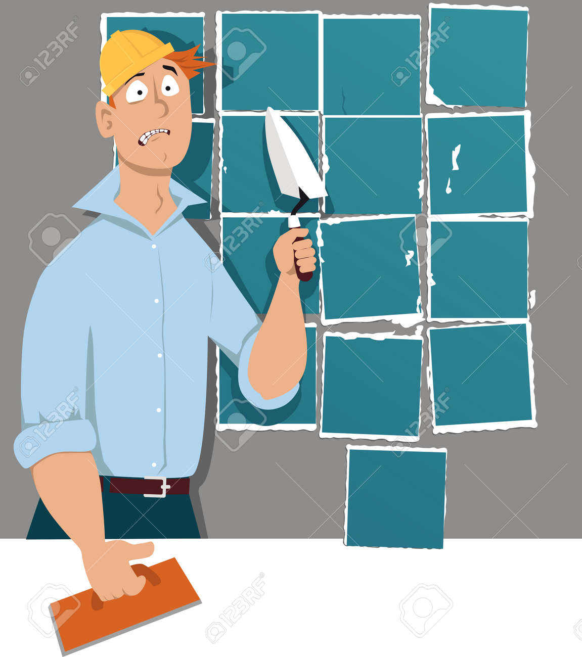 Man With A Trowel And A Tiling Float Standing In Front Of A Wall ...