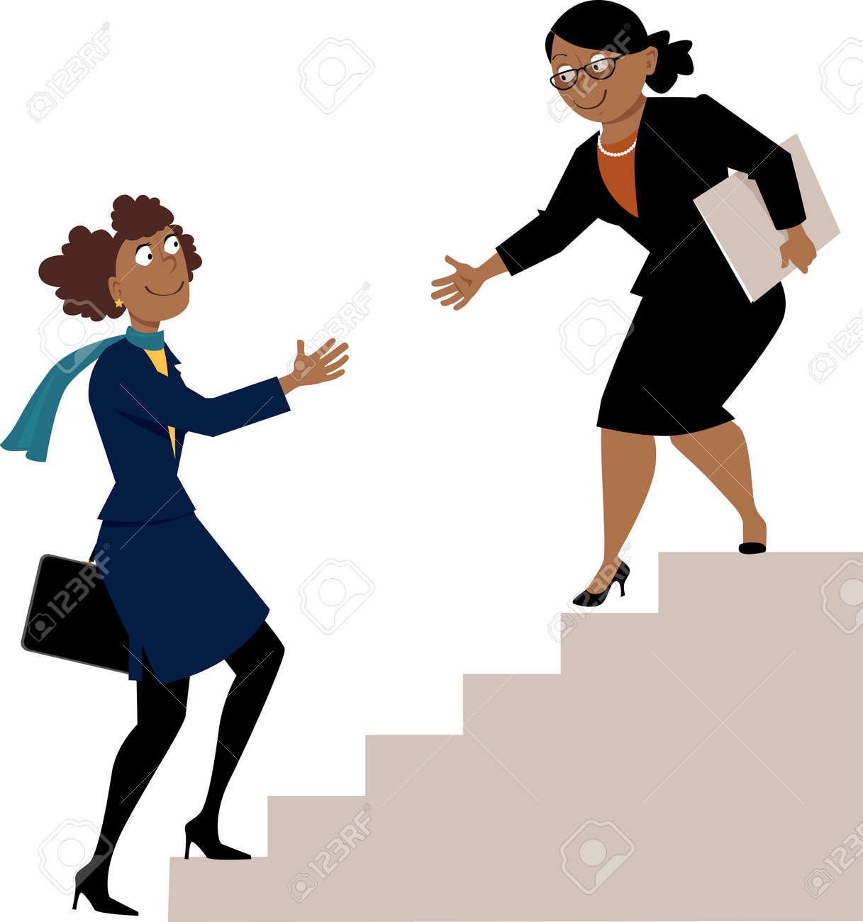 Mature african-american business woman offering a hand to a young protegee, going upstairs. - 90020429