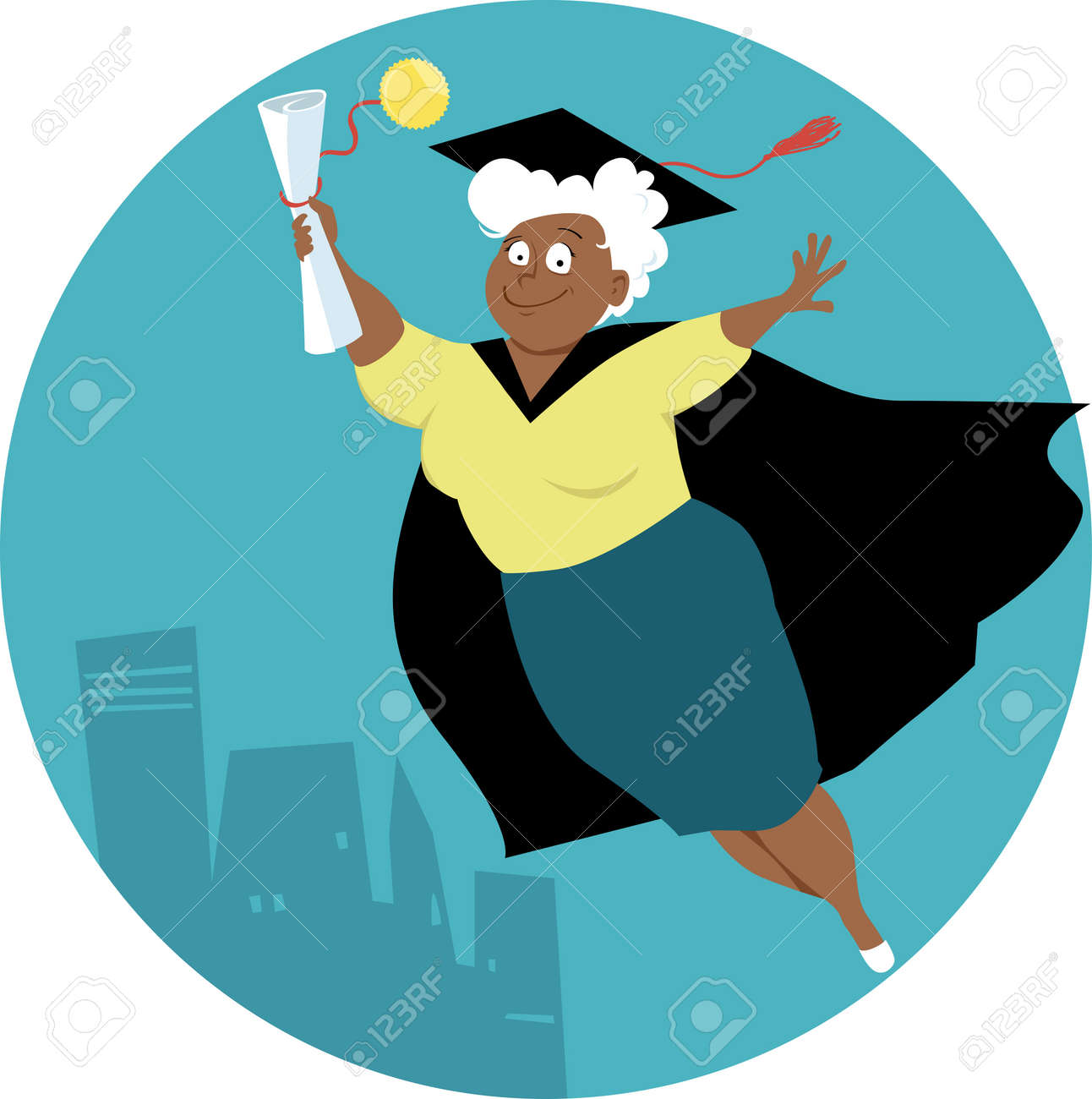 Mature Black Woman In A Graduation Cap And Gown With A Grade ...