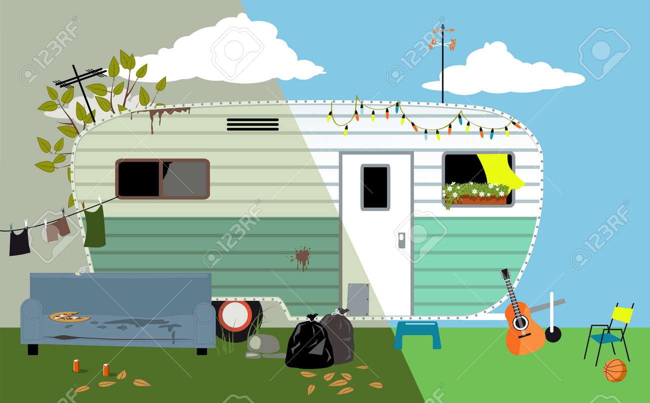 Camper trailer home before and after renovation, EPS 8 vector illustration - 92208957