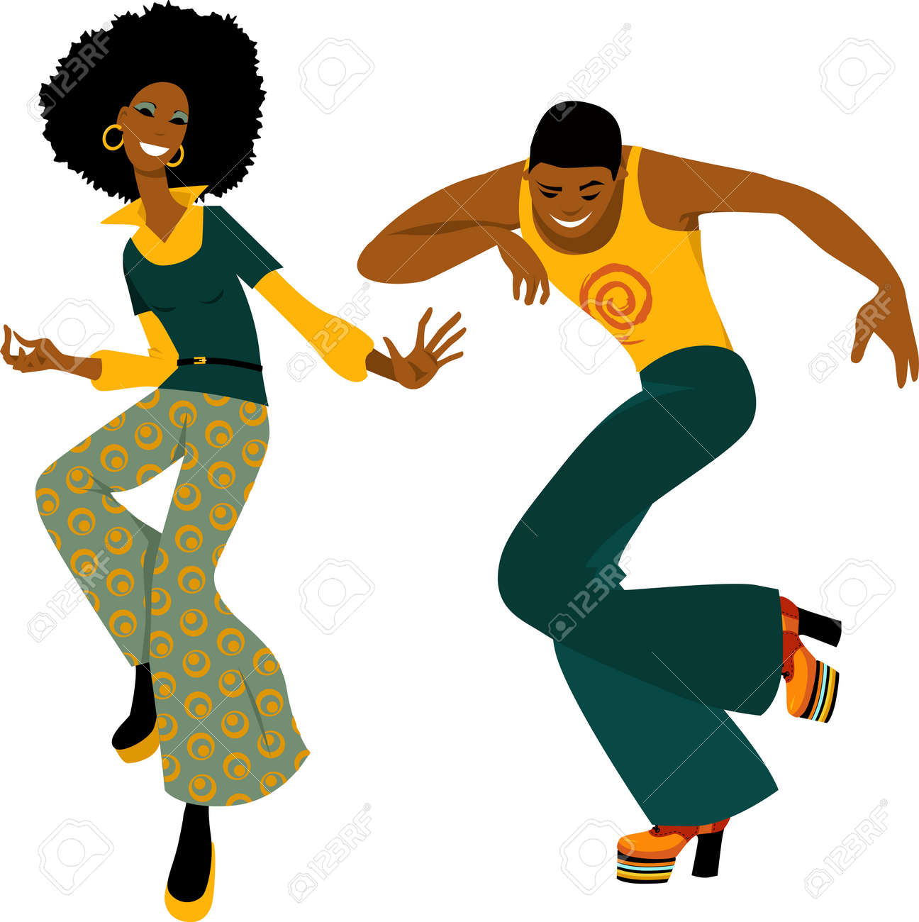 Young couple dressed in 1970s fashion dancing disco, EPS 8 vector illustration - 93140168