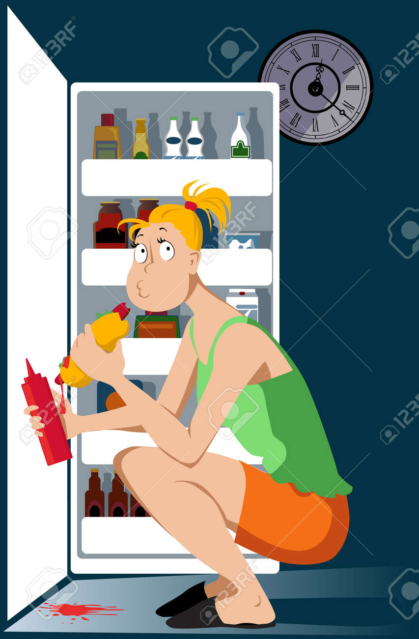 Young woman binge eating a hot dog in front of an open fridge late at night vector illustration. - 95889503