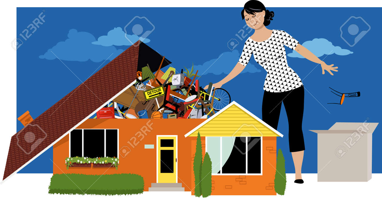 Woman decluttering, throwing away things from a house, overflown by stuff, EPS 8 vector illustration - 97006270