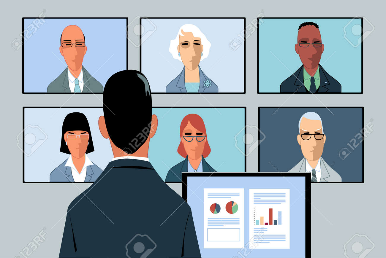 Businessman conducting a video-conference with a few remote partners - 98669007
