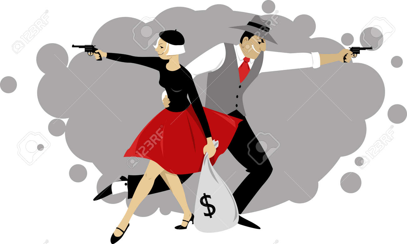 Cartoon Bonnie and Clyde firing guns and holding a bank sack