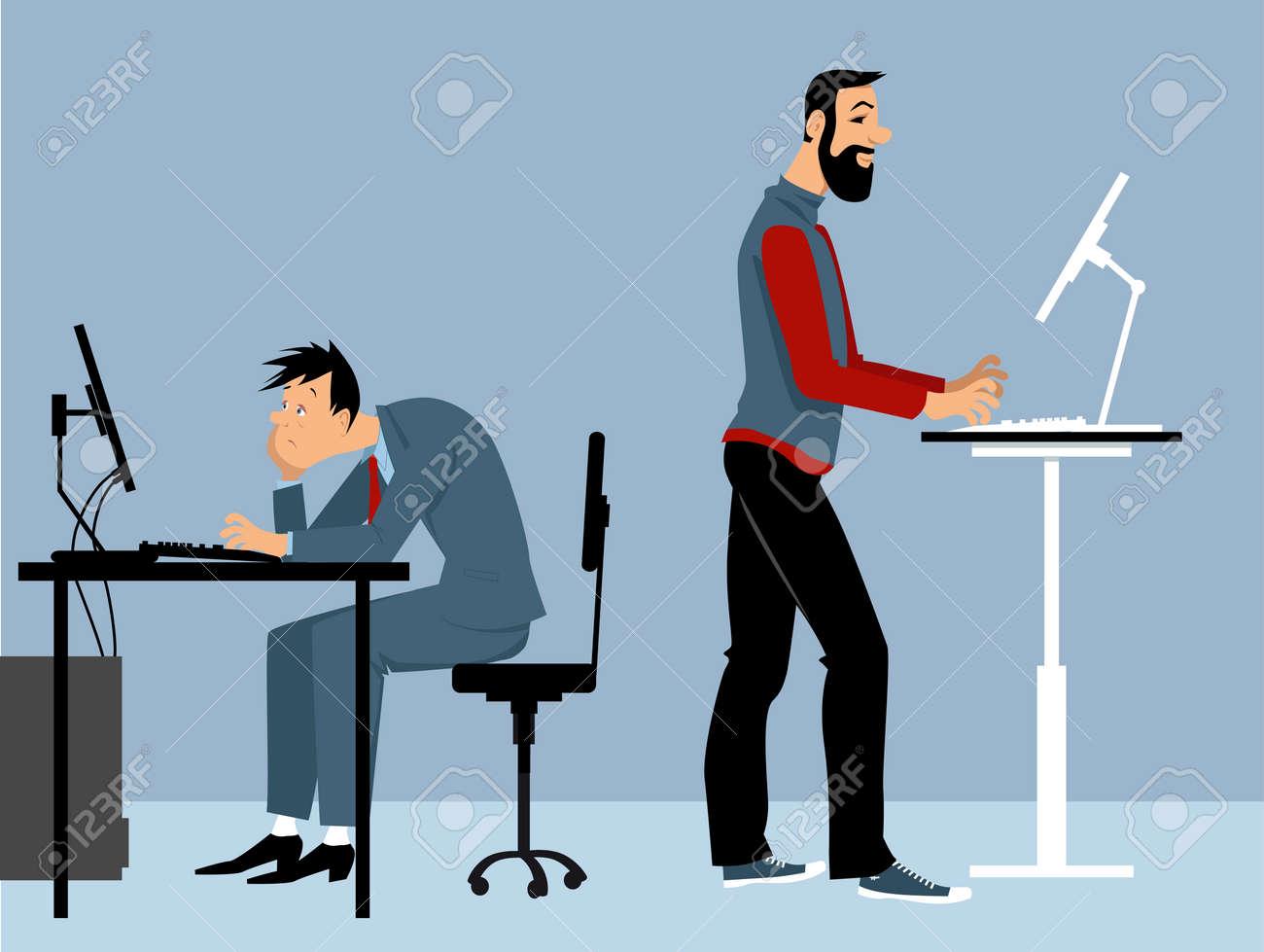 コンピュータ上のオフィスで働く2人の男性 そのうちの1人はスタンディングデスクを使用して Ps 8ベクトルイラストのイラスト素材 ベクタ Image