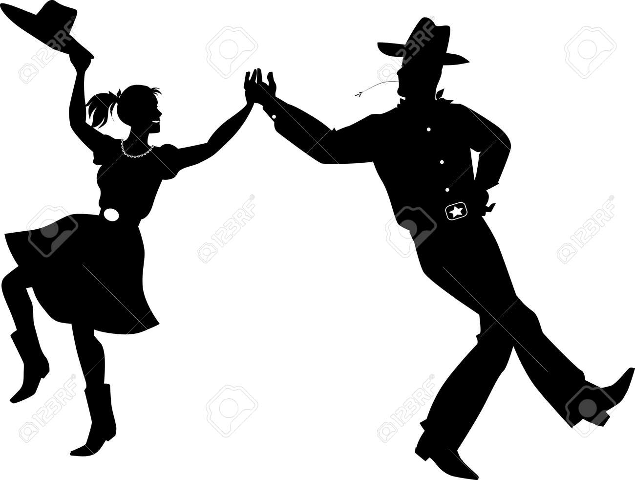 A couple dressed in traditional country western costumes dancing, EPS 8 vector silhouette illustration - 108579922