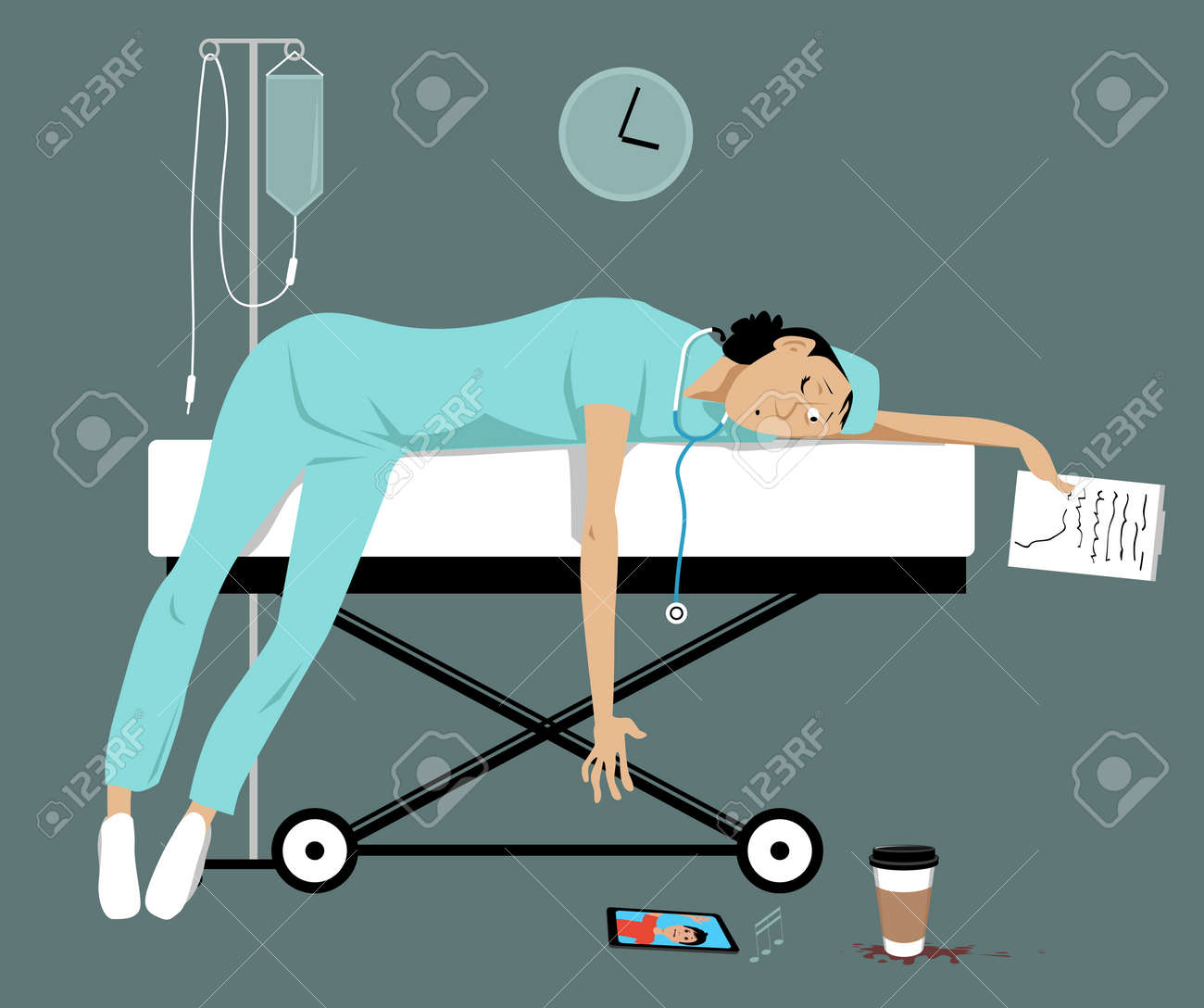 Exhausted overworked female doctor or intern lying on a gurney, her son is calling her on a smartphone, EPS 8 vector illustration - 112518064