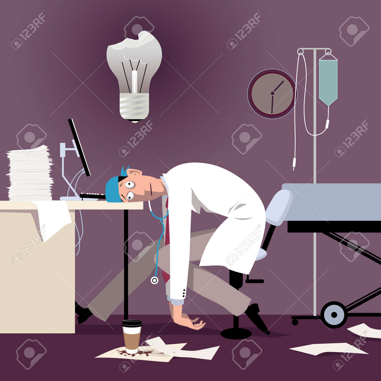 Exhausted overworked doctor or intern sitting at the desk in a hospital, burned out light bulb above his head - 111584064