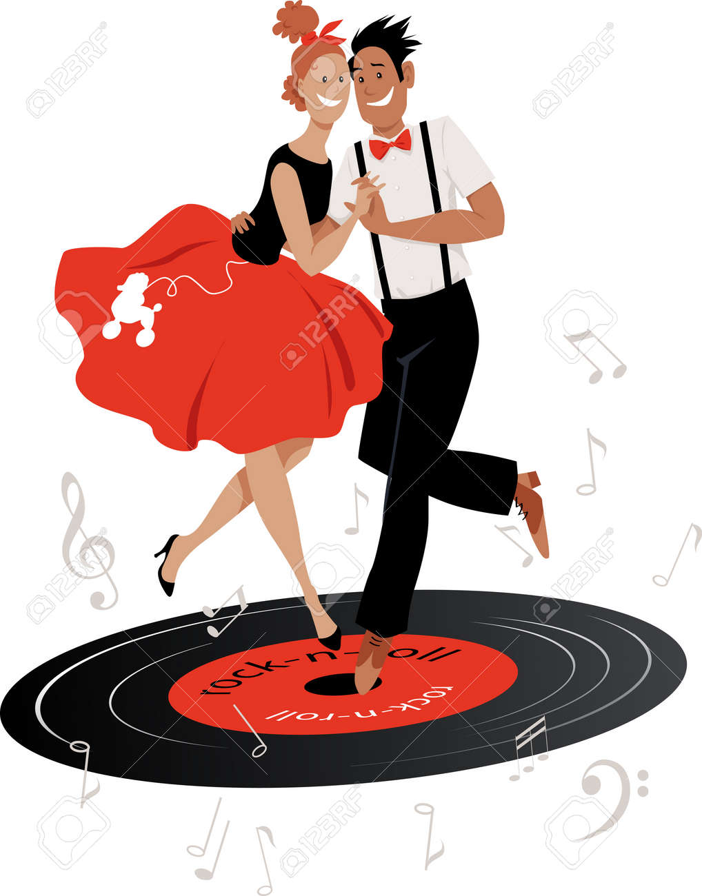 Cartoon couple in vintage clothing dancing rock-and-roll on a vinyl record, EPS 8 vector illustration - 111916025