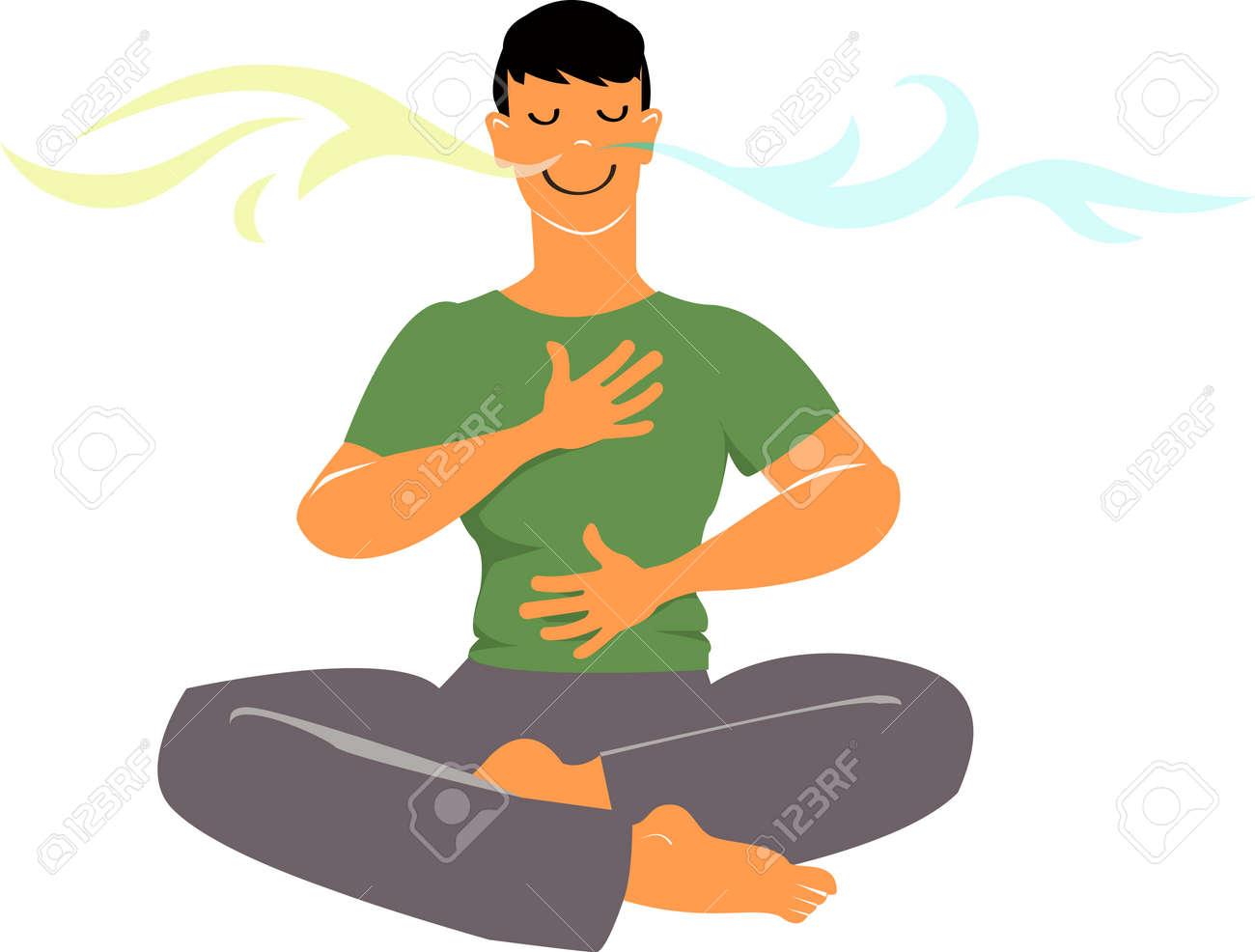 Man practicing breathing exercises, EPS 8 vector cartoon - 120318834