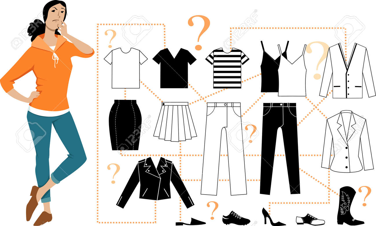Woman standing in front of a scheme of minimalist combination basic pieces of clothing into outfits, EPS 8 vector illustration - 120318877