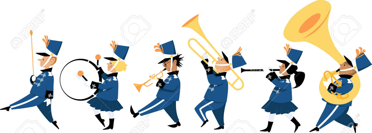 Cute children playing instruments in a marching band parade, vector illustration - 127784973