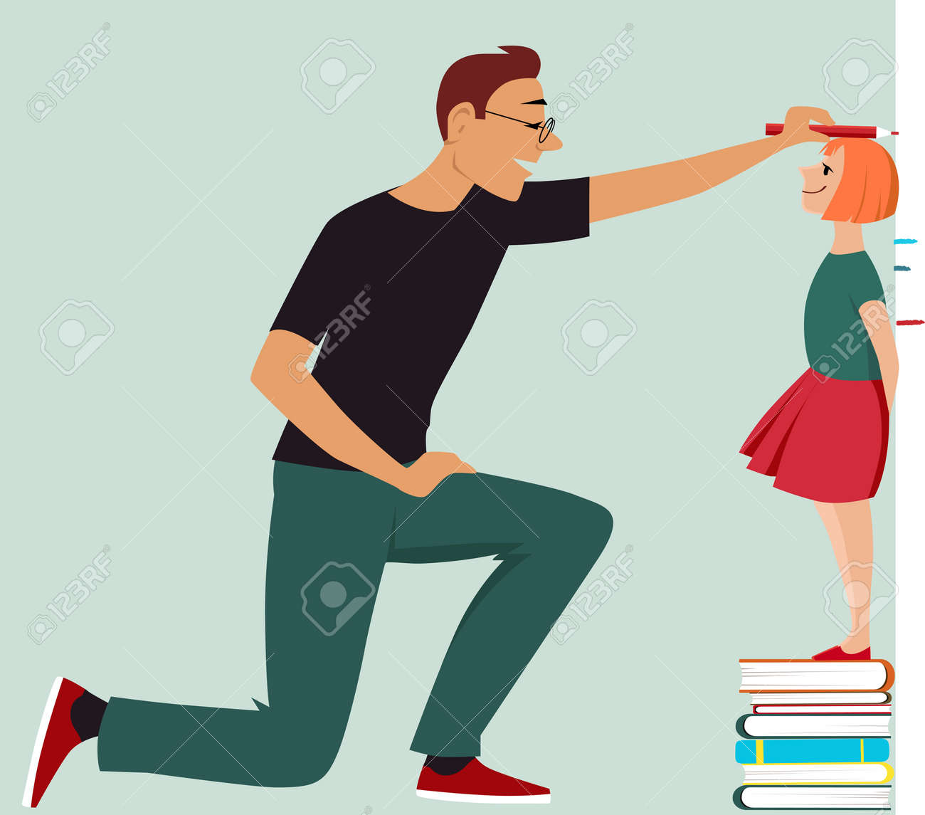 Little girl standing on a pile of books, her father measuring her height, Vector illustration - 128338893