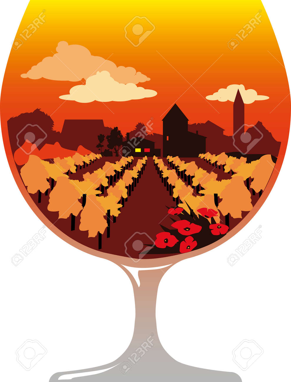 Silhouette of a brandy glass filled with a wine region landscape and a winery or distillery, EPS 8 vector illustration, no transparencies - 170848941