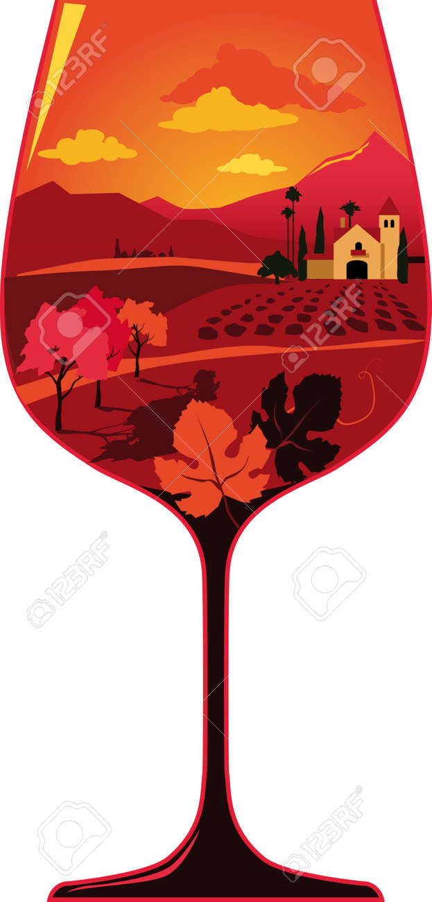 Silhouette of a wine glass filled with a wine region landscape with a generic Hispanic architecture winery and some grape leaves, EPS 8 vector illustration, no transparencies - 170848942
