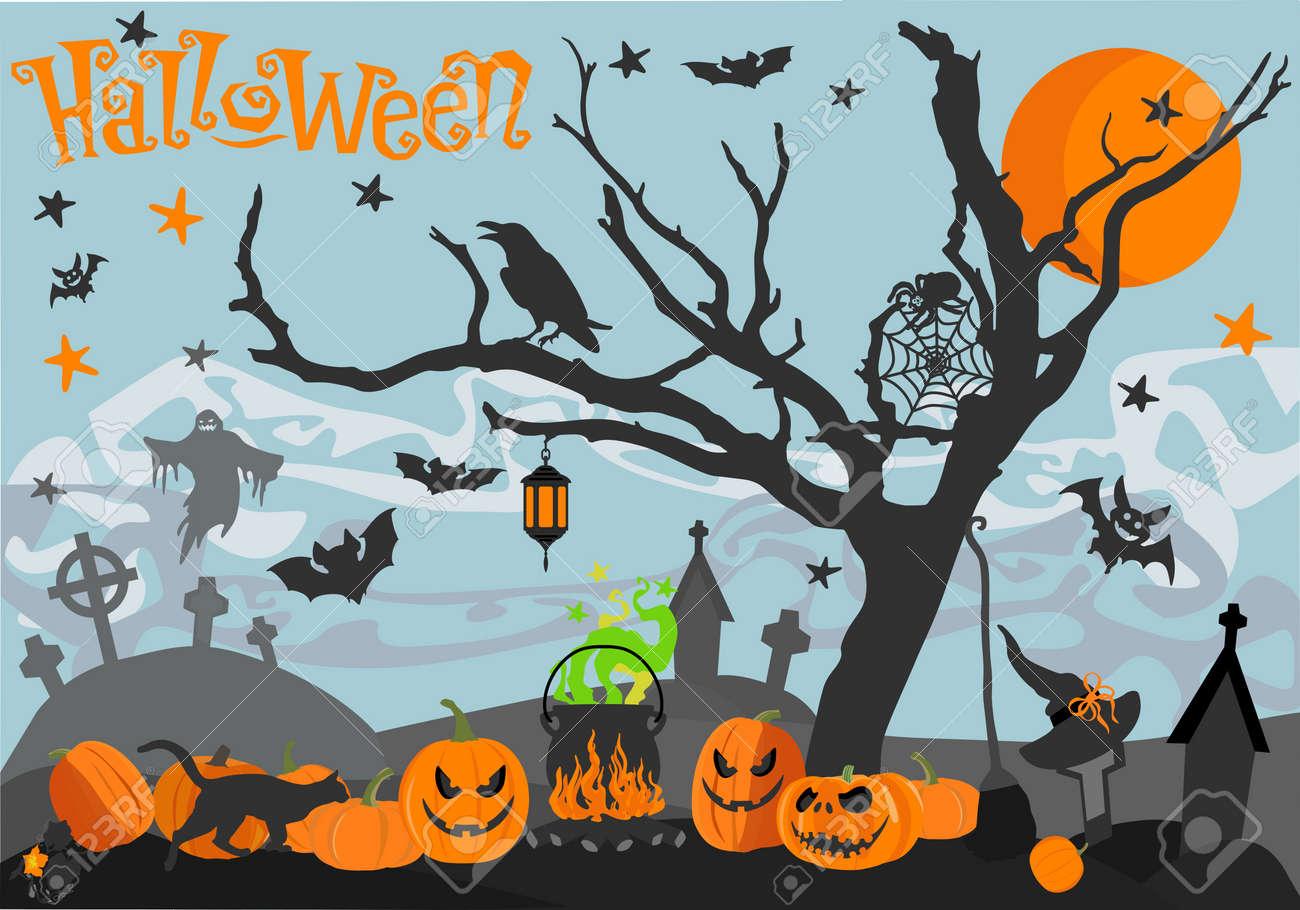 Happy Halloween Illustrations Citrouille Fantôme étoile Araignée Chauve Souris Lune Cimetière Croix Corneille Chapeau Balai Chaudron
