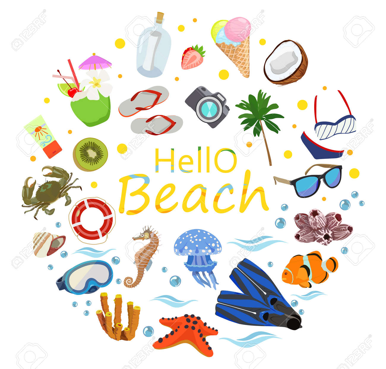 poster on theme of sea or ocean beach summer vector royalty free rh 123rf com summer vector free icons summer vector ii-z vr review