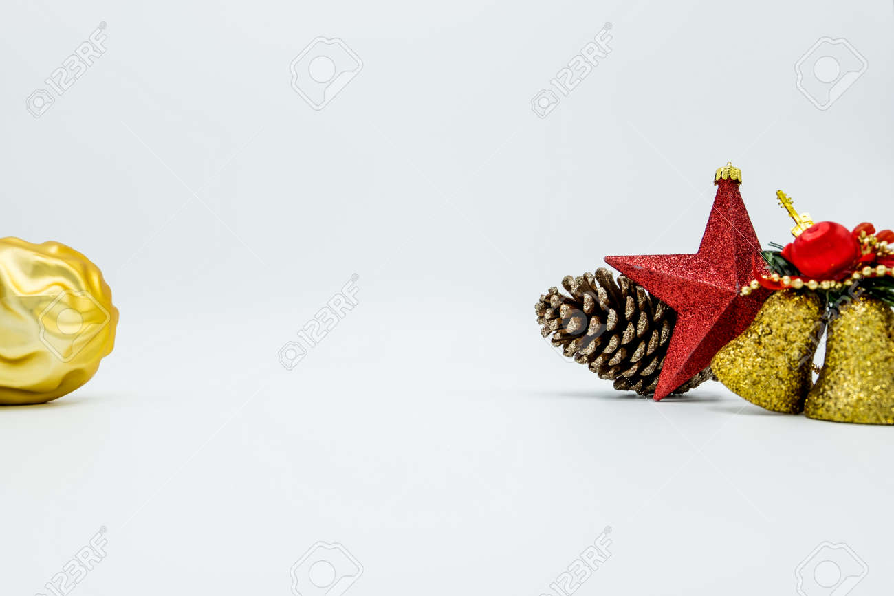 Holidays Wallpaper Background Of Colorful Christmas Decorations Isolated On White Background