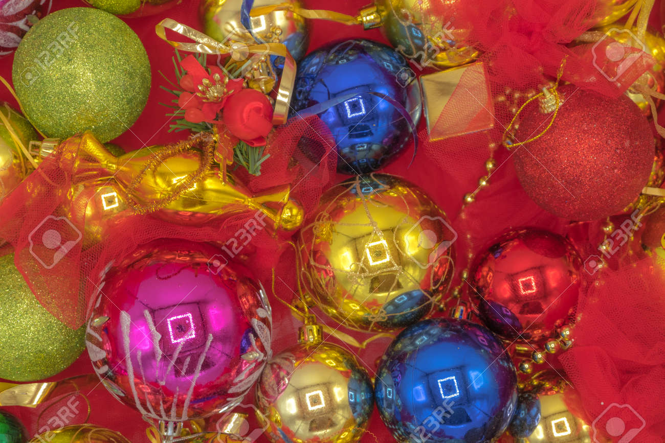 Christmas Vibrant Colorful Wallpaper Background Texture Of Balls