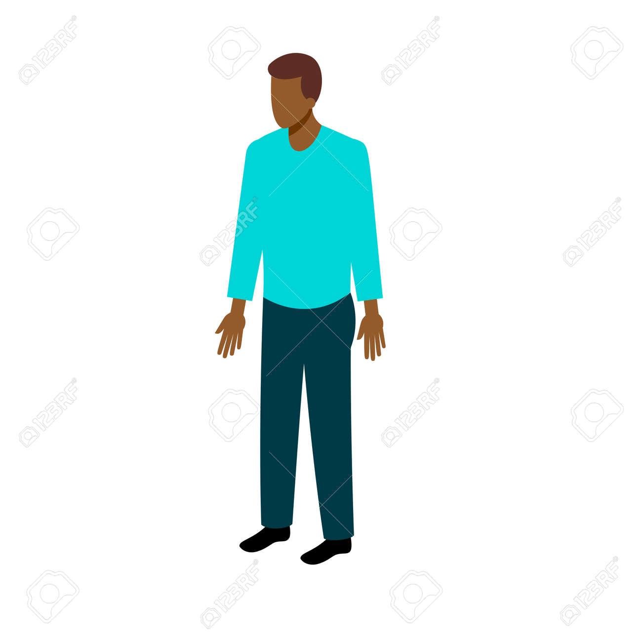 2f274702688 Foto de archivo - Hombre afroamericano en ropa casual de pie de cara  completa. Stock isométricos de estilo juegos