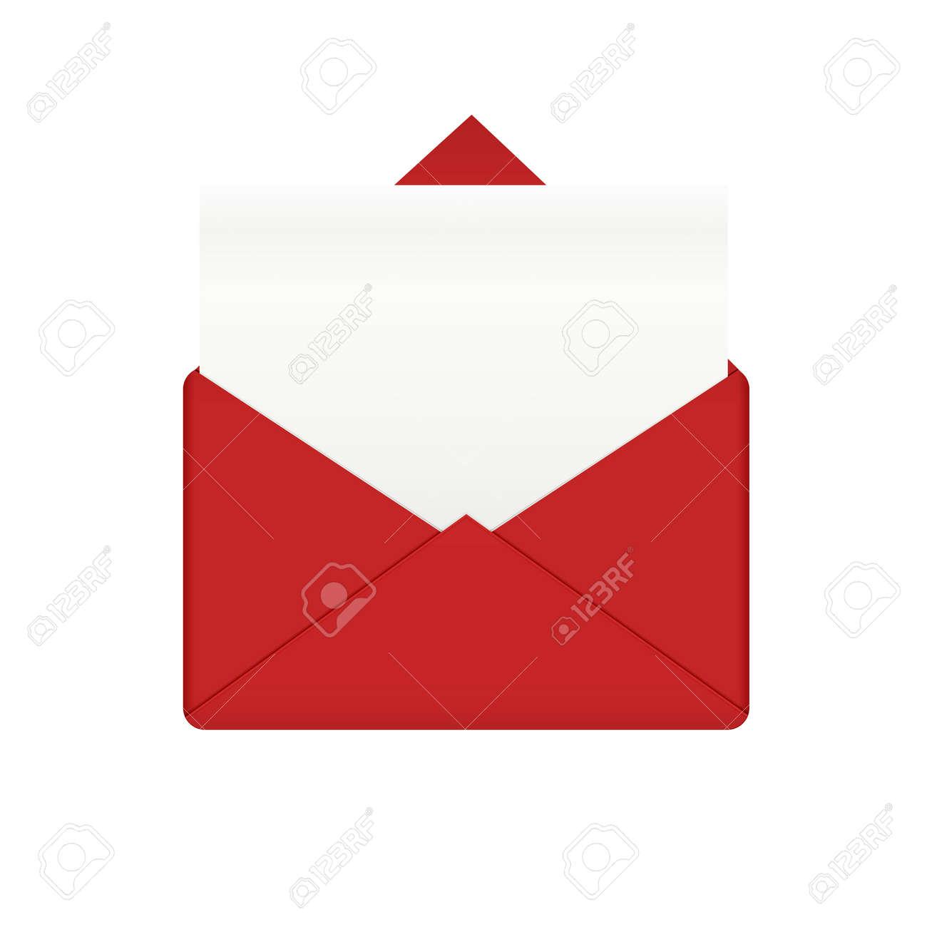 Roter Umschlag Mit Leeren Papier Brief Mail Vorlage Und