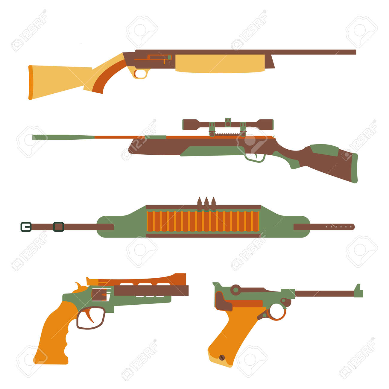 Firearms set design flat. Military weapon and gun, pistol for defense, vector illustration - 59302995