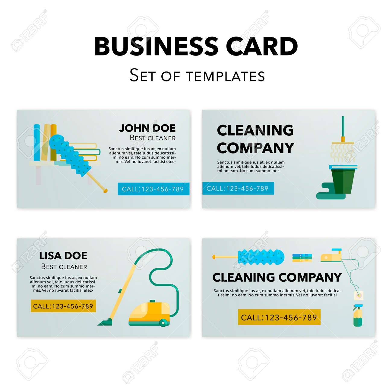 Cleaning business cards templates set flat cleaning appliances cleaning business cards templates set flat cleaning appliances concepts illustration stock vector 68695316 wajeb Choice Image