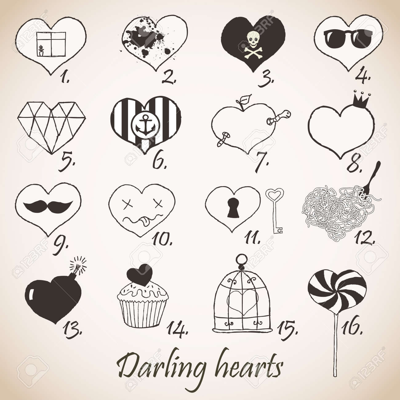 Set of stylized hand drawn hearts Stock Vector - 18169437