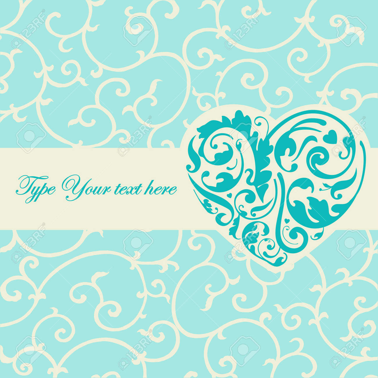 Elegant Turquoise Card With Heart Shape Royalty Free Cliparts