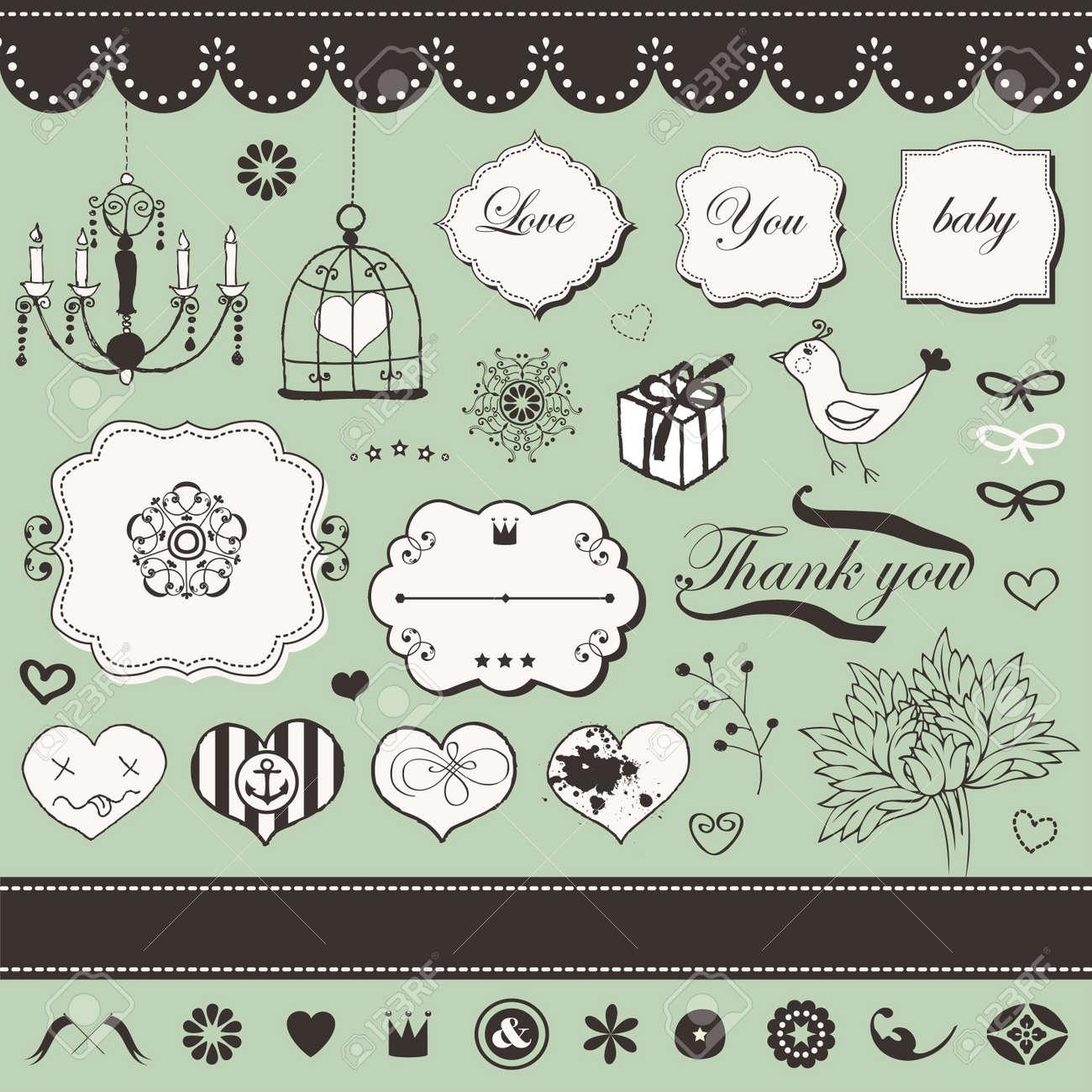Lovely romantic set for Your design Stock Vector - 18456707