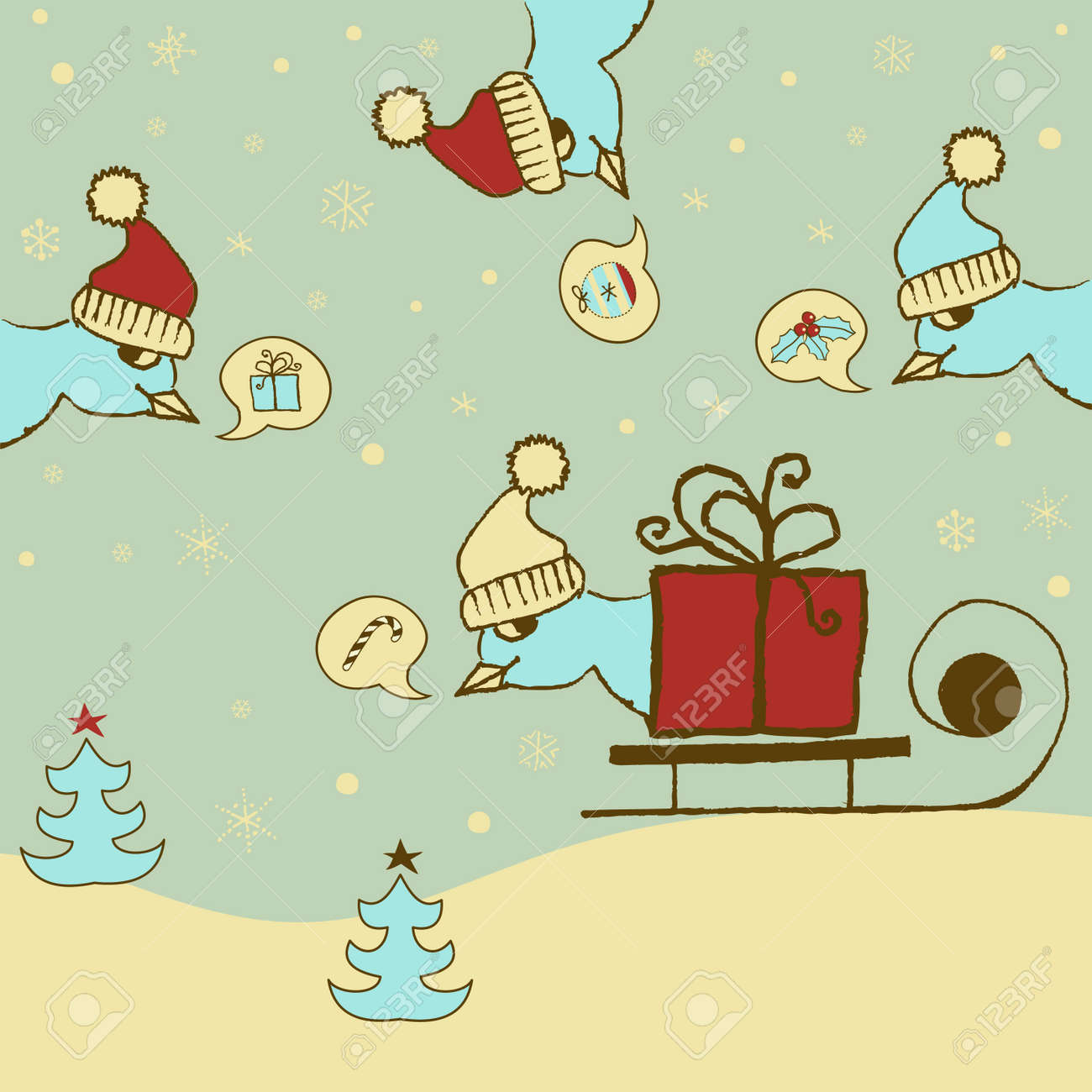 Cheerful Christmas Card With Naughty Birds Royalty Free Cliparts