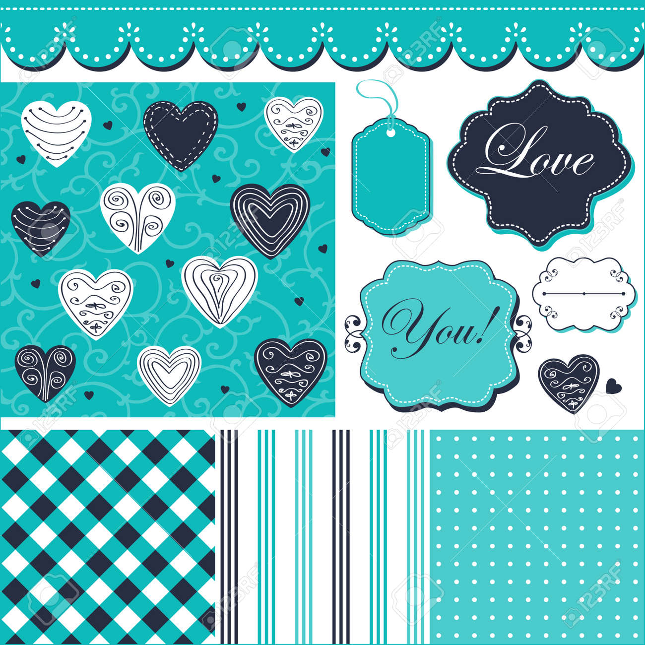 Vintage Turquoise Pattern, Frames And Cute Romantic Backgrounds ...