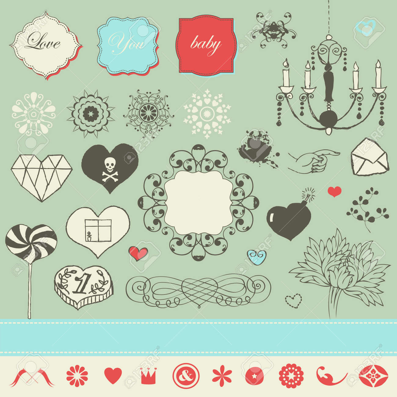 Lovely cute set for Your design Stock Vector - 22712303