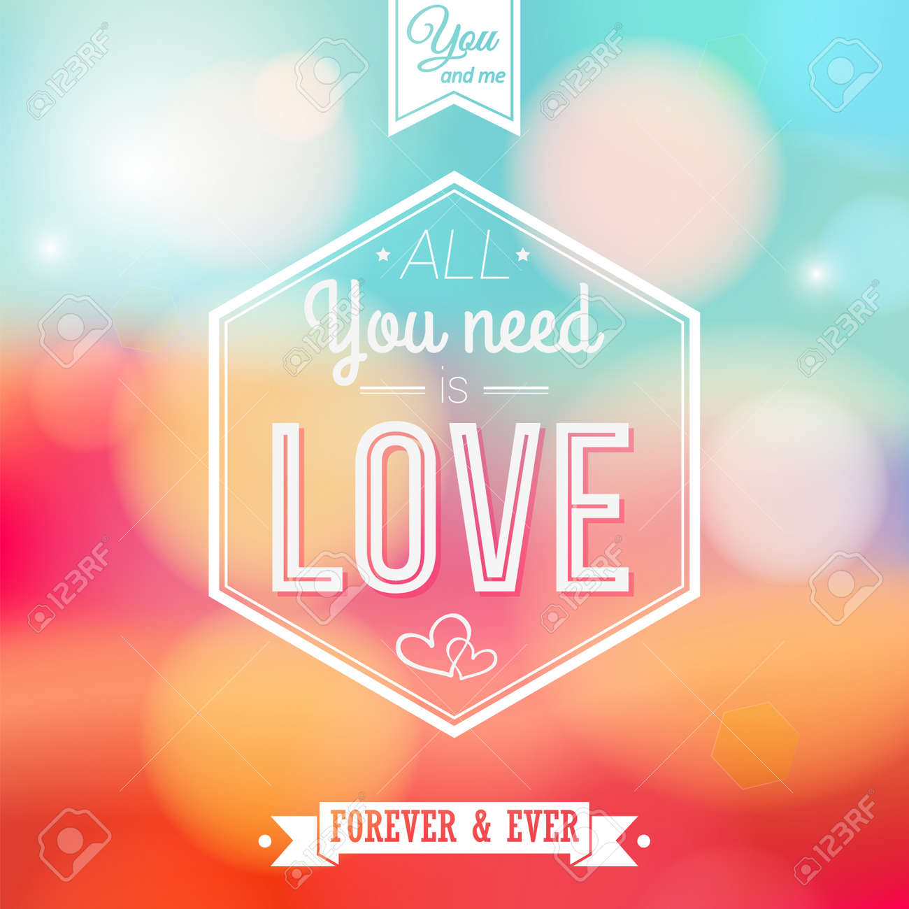 Romantic card on a soft blurry Stock Vector - 22745416