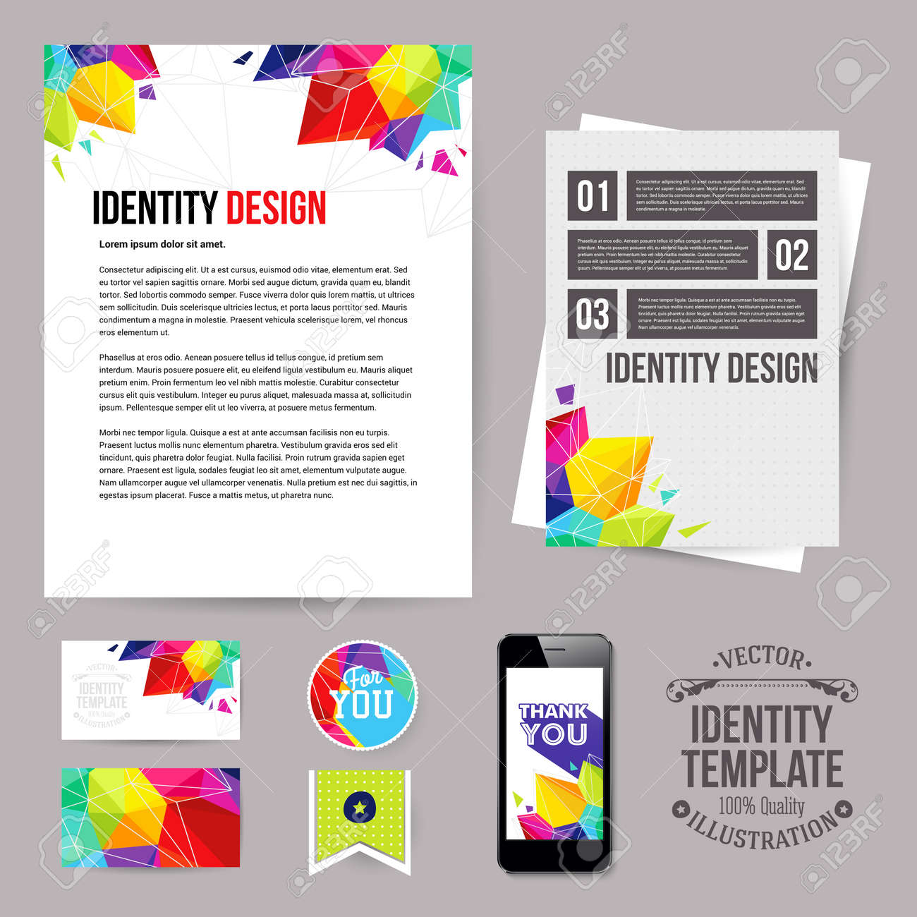 29293361 Identite Visuelle Pour Votre Entreprise Le Style Geometrique Jeu De Decoupes Carte Visite Depliant Applicat