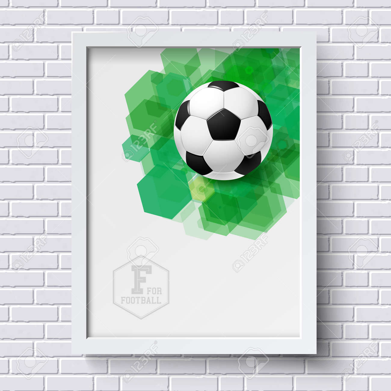 Abstract Soccer Poster. Image Frame On White Brick Wall With ...