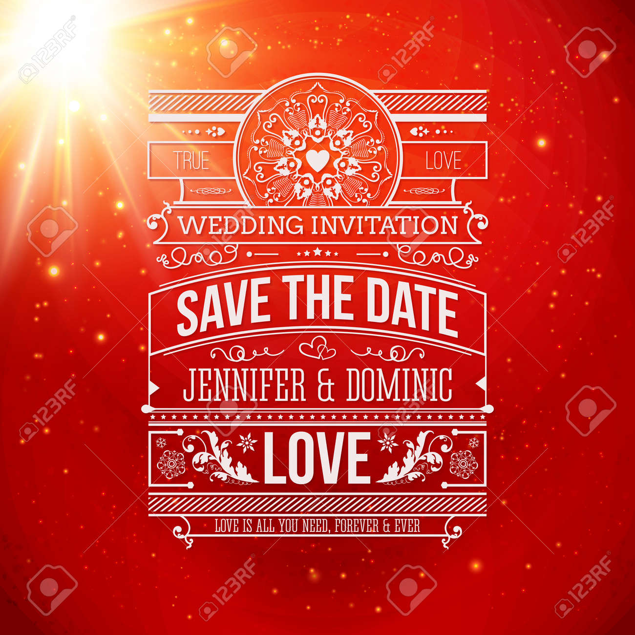 Save The Date For Personal Holiday. Wedding Invitation On A Classic ...