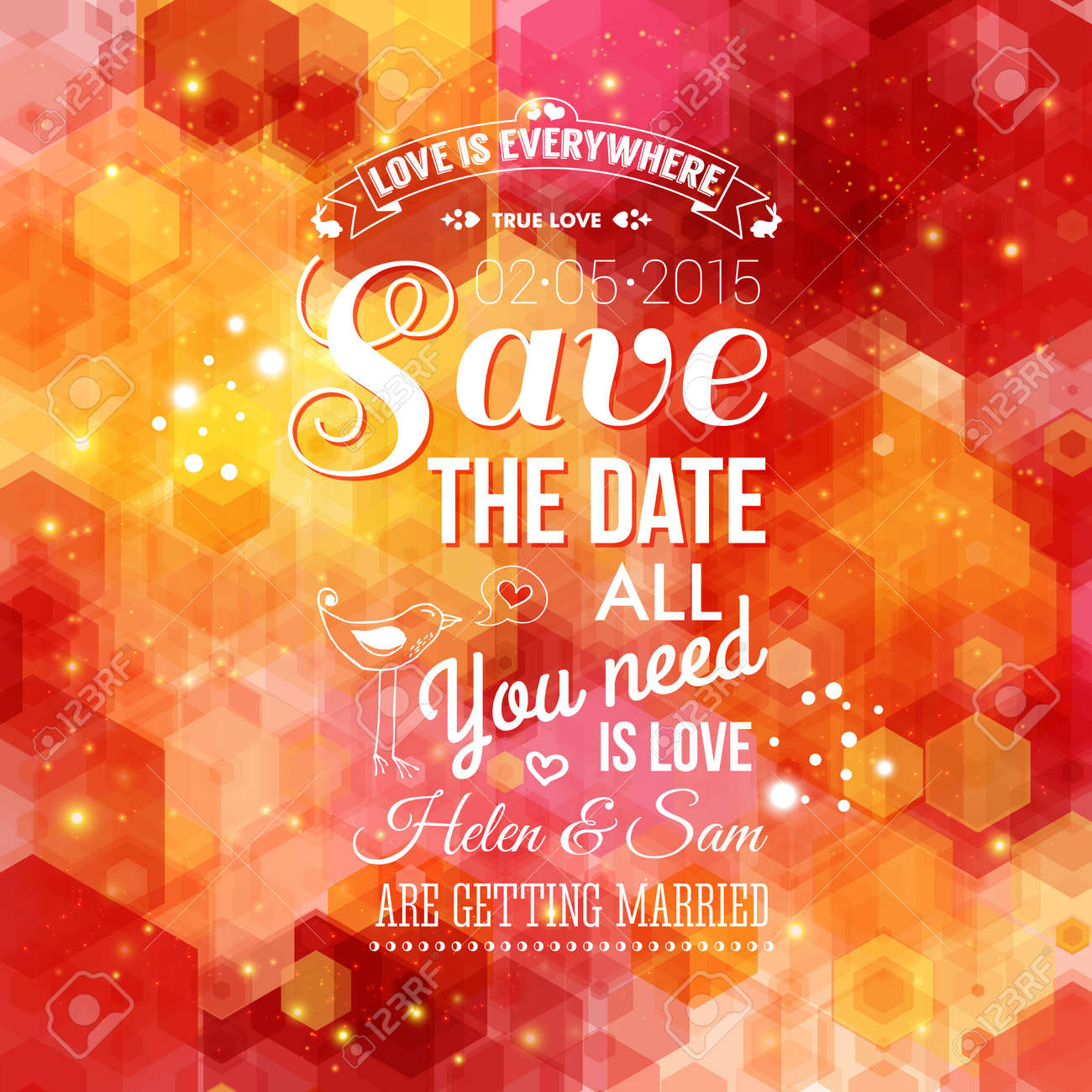 Save The Date For Personal Holiday. Wedding Invitation On A Bright ...